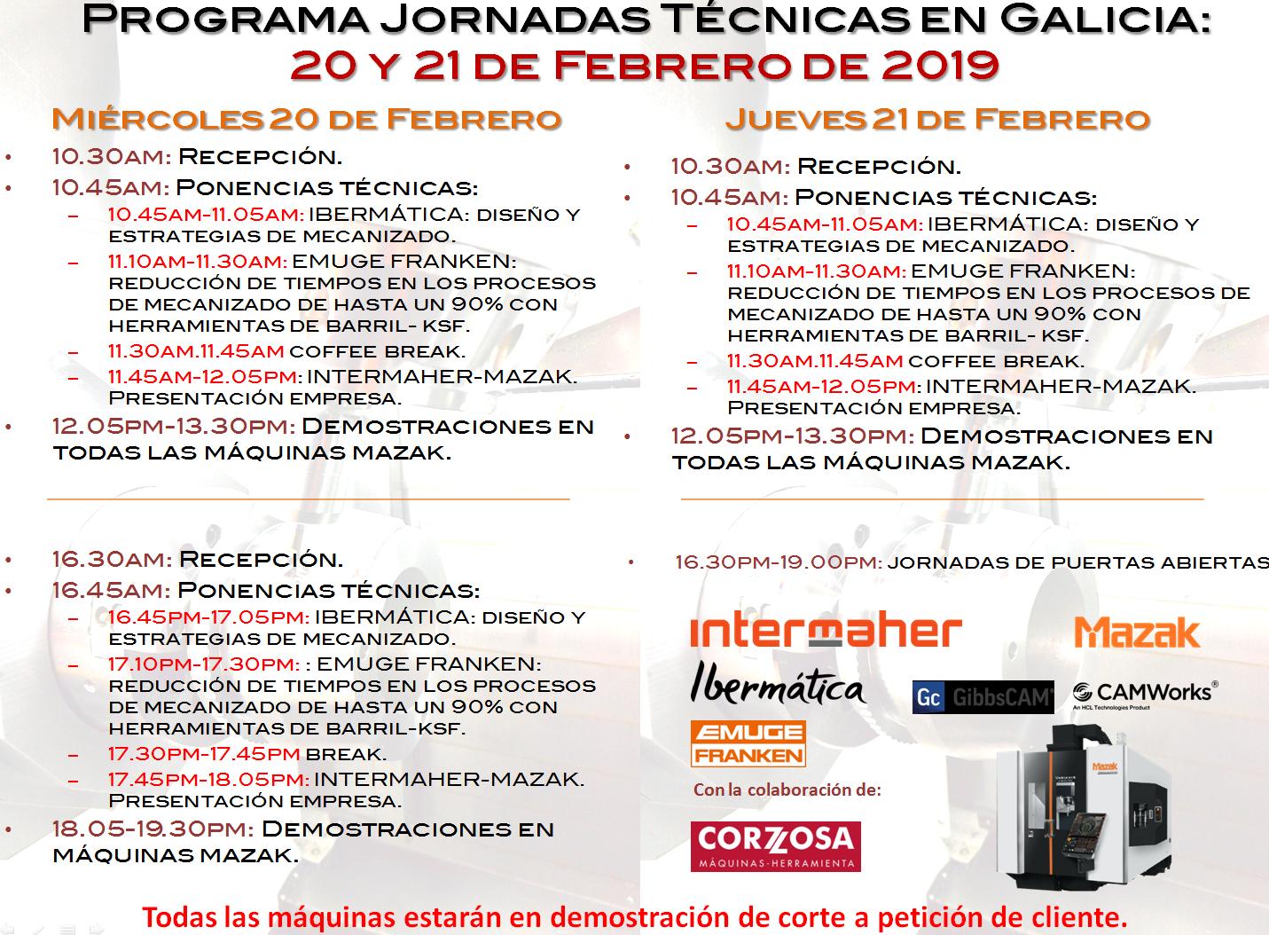 Programa Jornadas Técnicas Galicia Intermaher Mazak