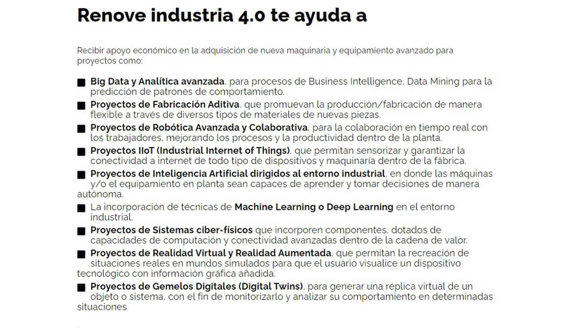 Ayudas Renove Industria 4.0
